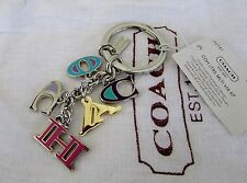 Coach Multi Mix Letters Key Chain Ring F62741 Gift Bag NWT