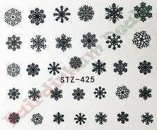 Black Snow flake Christmas Nail Art Stickers Water Decals-Sheet No. STZ-425