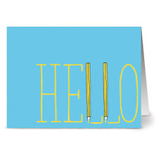 24 Note Cards - Hello Aqua and Yellow - Yellow Envs