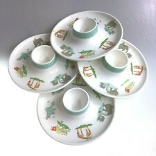 Egg Cup Trays Set Of 4 With Pretty Coloured Animal Print Porcelain