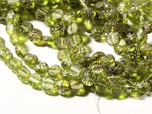 (450) 6mm Deco vintage Czech silver gilt green Egyptian revival disc glass beads