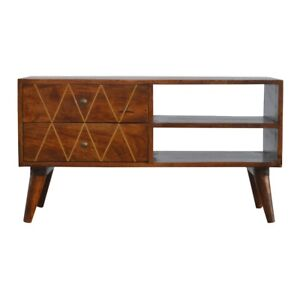 Mid Century Style Media Unit TV Cabinet Solid Dark Wood With Gold Inlay Design