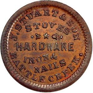 1863 Battle Creek Michigan Civil War Token J Stuart & Son Very Scarce Town PCGS