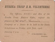 Boer War Eureka Troop Eastern Rifles 1906 invite to dance Mr & Mrs Thomis