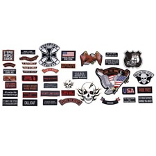 Assorted 40pc PATCH Embroidered SET Badge Motorcycle Biker Vest Jacket USA Flag