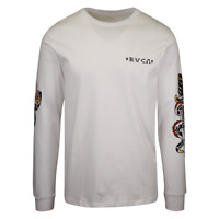RVCA Men's White Krak Daggers Regular Fit L/S T-Shirt (S14)