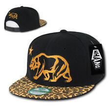 California Republic LEOPARD PRINT SNAPBACK Hat vtg CALI BEAR Flat Bill Cap BLACK