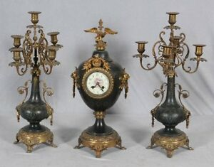 Antique French Gothic  Figural Bronze ormolu Mantel Clock Candelabra Japy Frerez