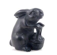 Japanese Ebony Ironwood Hand Carved Netsuke Sculpture Rabbit Bamboo Basket Food