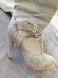 DIOR Dove Grey Snakeskin Buckle High Boots (retail £1,800)