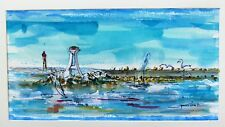 Peinture, tableau, original, decoration,paysage, mer, méditerranée, Sète,phares