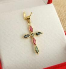 18ct 18k Yellow Gold Authentic Blue Green Sapphire Ruby Cross Pendant
