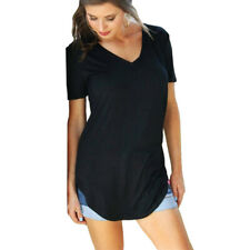 Women V Neck Short Sleeve T Shirt Solid Slit Casual Tunic Blouse Loose Beach Top