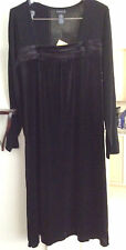 Women's Black Dress Citiknits QVC  Size L  Velveteen/Knit  NWT