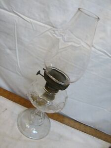 Vintage Pinafore Embossed Glass Fluid Oil Lamp Kerosene Light w/Cast Iron Base