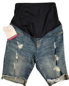 Isabel Maternity Bermuda Jean Shorts Distressed Stretch Crossover Panel Size 2