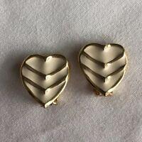 Vintage White Enamel & Gold Tone Heart Clip Earrings