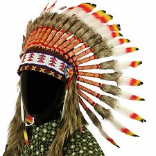Indian Headdress Chief Feathers Bonnet Native American Gringo RED BLACK YELLOW