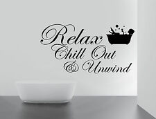 BIG RELAX CHILL ENJOY UNWIND Quote Wall Stickers BATHROOM Removable Decals DIY