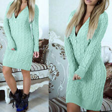 Sexy Women Knitted Zipper V Neck Winter Sweater Mini Dress Bodycon Blouse