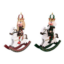2 Pieces Wooden Handpainted Nutcracker on Rocking Horse Toy Xmas Ornament