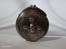 UNIQUE ANTIQUE SILVER PILL/POISON BOX WITH MEMENTO MORI SKULLS-19TH CENTURY
