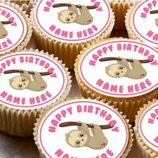 24 icing cake decorations toppers can be personalised sloth