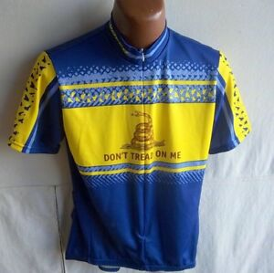 "VOLER - Adult Blue/Yellow S/S Cycle Jersey-""Don't Tread on Me""- SIZE L"