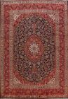 Excellent Vintage Floral Ardakan Signed Navy Blue Hand-Knotted Area Rug 9'x13'