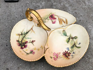 ANTIQUE ROYAL WORCESTER BLUSH IVORY 3 SECTION DISH - PAINTED FLORAL DESIGN