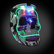 LED LIGHT UP FLASHING SKULL MASK SKELETON HALLOWEEN RAVE PARTY FAVOR 7 MODES NWT