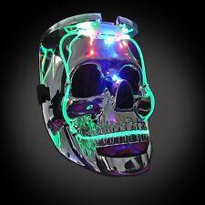 LED LIGHT UP FLASHING SKULL MASK SKELETON HALLOWEEN RAVE PARTY FAVOR 7 MODES NWT