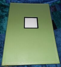 GREEN FAUX LEATHER PHOTOGRAPH BOOK, NEW,100 PAGES,300 POSTCARD PHOTOS with NOTES