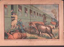TRAIN Sud-Express CORRIDA TAUREAUX BERET ROUGE   ILLUSTRATION 1933
