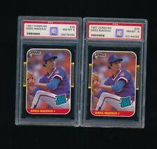 lot (2) 1987 donruss #36 GREG MADDUX rookie card PSA 8 purple label high end