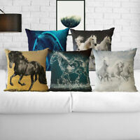 Cotton Linen Ink Painting Horse Pillow Case Sofa Waist Cushion Cover Home Decor