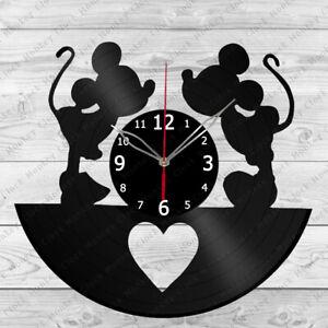 Vinyl Clock Mickey Minnie Mouse Vinyl Record Wall Clock Home Decor Handmade 500