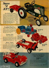 1973 PAPER AD Pedal Tractor Trailer Train Racer Chubby Auto Chain Fire Engine