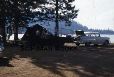 KODACHROME Red Stars 35mm Slide Camping Tent Trailer Old Car People Lake 1950s?