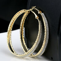 Women Crystal Diamante Rhinestone Silver Gold Plated Hoop Round Earrings Jewelry