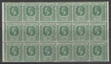 CAYMAN ISLANDS SG41 1912 ½d GREEN MNH BLOCK OF 18