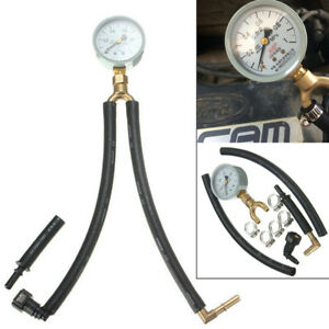 Universal Car Fuel Injection Pressure Gauge Tester 0.1 - 1 MPa Meter w/ Fittings