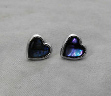 Lively Fire Sea Opal Blue / Purple Colors Silver Tone Heart Earrrings Studs