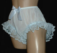 nel-jen  BLUE Polyester  Chiffon w Leg Lace Sissy Ruffle Panties - crossdresser