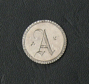 """Vintage Letter """"A"""" Engraved Love Token/Pendent on Silver Seated Liberty Dime"""
