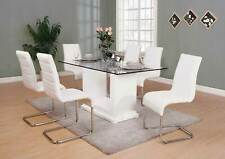 Modern 7 piece Dining Room Set Furniture Glossy White Rect Table & 6 Chairs Icei