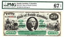 1872  $50 The State of South Carolina, PMG 67EPQ SUPERB GEM UNCIRCULATED - RARE!