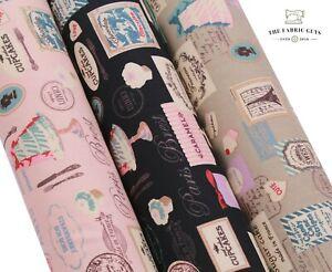 "Cupcake Bakery Paris Sweet ,100% Cotton Print Canvas Fabric, High Quality 45"""