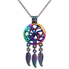 Rainbow Color Dream Catcher Love Heart Beads Cage Pendant Locket Necklace C763