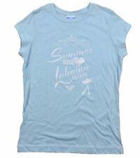 Roxy LAHAINA LUA TEE Light Blue White Maui Beach 5th Palm Trees Junior's T-Shirt